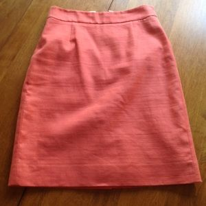 J. Crew Linen/Cotton Tangerine Pencil Skirt